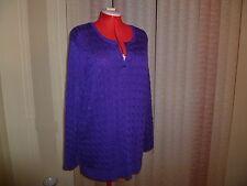 NWT Ralph Lauren knit long split scoop neck sweater in purple long sleeves s 3X