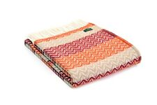 Orange Wool Throw Blanket Tweedmill Ripple Design Large Size