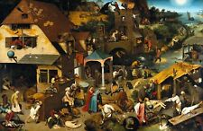 The Dutch Proverbs by Pieter Bruegel. Giclee Fantasy Reproduction on Canvas