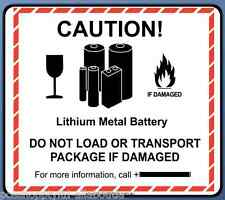 150 x Caution! Lithium Metal Battery  - Premium Gloss Paper Label