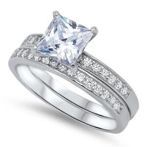Princess CZ Engagement Wedding Sterling Silver Ring Set