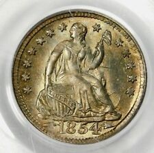 PCGS MS64 1854 SEATED HALF DIME WITH ARROWS