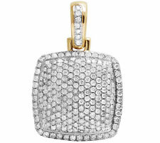 Mens 10K Yellow Gold Iced Puff Dome Pillow Pendant Charm Real Diamond 2.0Ct 1.8""