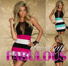 Polyester Stretch, Bodycon Unbranded Striped Dresses for Women
