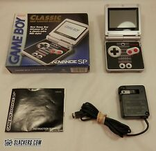 Game Boy Advance SP CLASSIC NES LTD ED Black & Silver Handheld COMPLETE IN BOX!