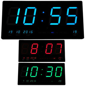 Jumbo Digital Wall Clock Large LED Commercial Office Home Display Blue Green Red