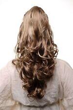 Postiche Tresse Pince Brun Clair avec Mêches Blondes Ondulés Volumineux 55cm