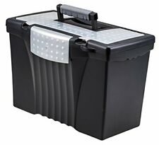 Storex Portable File Box With Organizer Lid 1713 X 963 X 11 Inches