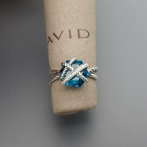 David Yurman Cable Wrap Ring with Blue Topaz and Diamond size 6