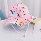 Toddler Baby Girls Summer Sun Hat Beach Bucket Hat Pool Play Hat Cap Chin Strap