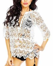 Women's Sexy Summer Mid Sleeved Crochet Lace Beach Swimsuit Bikini Cover Up