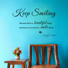 Keep Smiling Quote Wall Vinyl Decals Inspiring Words Home Removable Wall Sticker