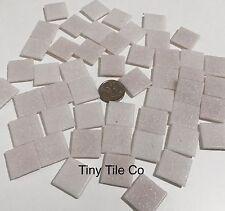 50pcs White/Pink Glass Mosaic Tiles