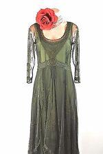 Vintage style Dresses Nataya Titanic Dress Green Khaki formal Victorian S NWT