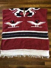 One Size Cape Knit Blanket Poncho Shawl Boho Fringe Southwest Print Aztec