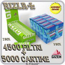 4500 FILTRI RIZLA SLIM 6 mm + 5000 Cartine GIZEH VERDI CORTE SUPER FINE 100 pz