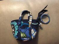 Vera Bradley Mini Miller Tote Keychain in Mod Floral Blue