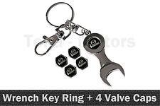 Mazda Spanner Wrench Key Ring Chain Keyring + 4 Tyre Tire Valve Caps /1109