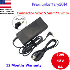 72W 12 Volt 6 Amp (12V 6A) DC AC Adapter Charger Power Supply Cord LCD Moni