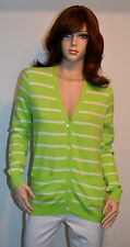 New $245 Ralph Lauren Golf Polo Cardigan Lime Green/White Cashmere Large L