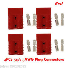Car Truck Quick Connector Battery Plug 50A 8 AWG Plug Connect Disconnect Red 4pc