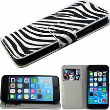 Flip Zebra PU Leather ID Card Wallet Pouch Cover Case For Apple iPhone 6 6S 4.7""