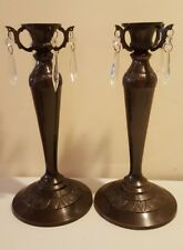 Tommy Bahama Pair of Victorian Style Pillar Candle Holders – Bronze Heavy Metal