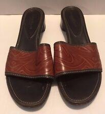 Womens Cole Haan Slide Heels Size 10 Leather Brown Black Open Toe Sandals