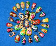 Hand made ASSORTED lot 10 Babushka Charms Beads RUSSIAN DOLL Bracelet earrings