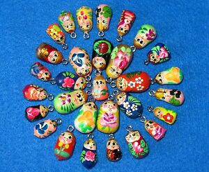 Matryoshka Charms Beads Hand made ASSORTED lot 10 RUSSIAN DOLL Bracelet earrings