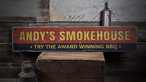 Award Winning BBQ, Custom Smokehouse - Rustic Distressed Wood Sign