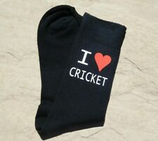 I Love Cricket Men's Novelty Vinyl Printed Black Socks Fathers Day Birthday Gift