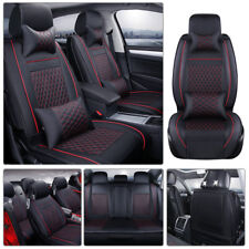 100% PU Leather Car Seat Cover Front&Rear Cushion 5-Seats SUV Black W/ Red Line