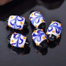 5pcs 23x13mm White Oval Rugby Handmade Lampwork Glass Loose Craft Beads Finding