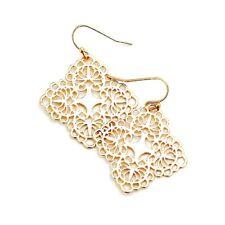 Uniklook Matte Gold Cut-Out Filigree Bohemian Hook Earrings Fashion Jewelry