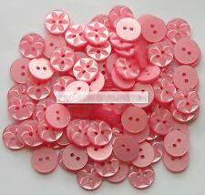 K167 11mm 18L Pink Dusky Rose Baby Polished 2 Hole Craft Doll Small Buttons