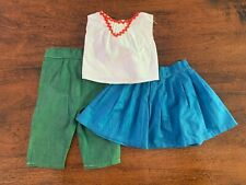 "Vintage 1950'S Handmade Doll Clothes For 22"" Doll 3 Pc Skirt Pants Top"