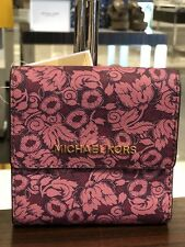 NWT Michael Kors Small Trifold Wallet Card Case Carryall IN Damson Purple Floral