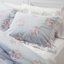 New Simply Shabby Chic Blue Pink Floral Rose Bouquet Ruffle Comforter Set - King