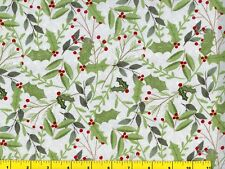 Holly & Pine Branches on Pale Gray Christmas Quilting Fabric 1/2 Yard  #3050
