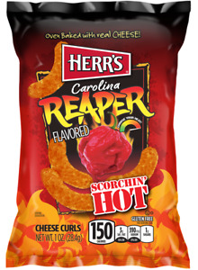 Carolina Reaper Cheese Curls EXTRA HOT Oven Baked 6 Oz, 1 Bag Dated: 10/31/2021