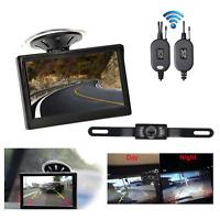 "5"" TFT Car LCD Monitor Wireless Reversing Backup Camera Rear View System Kit New"