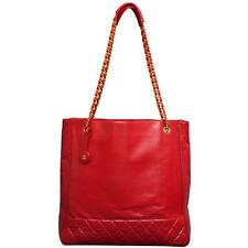 Chanel Vintage N/S Shopping Tote Handbag Purse in Red Leather