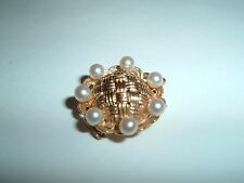 Pearls Takes 3 Strands Of Your Own 14kt Solid Gold 7.2g Clasp -Basket Weave With