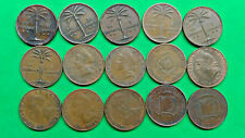 Lot of 15 Different Old Dominican Republic 1 Centavo Coins 1941-1986  !!