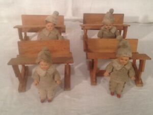 "VINTAGE 3 3/4"" Celluloid Doll school house desk Set of 4 w/ vintage clothing"