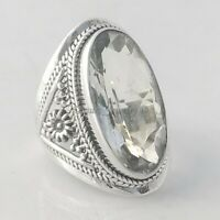 Solid 925 Sterling Silver Floral Clear Quartz Ring Jewelry - ANY SIZE