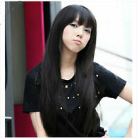 Sexy Women Full Long Fancy Black Wig Straight Hair Cosplay Costume Party Wig+Cap