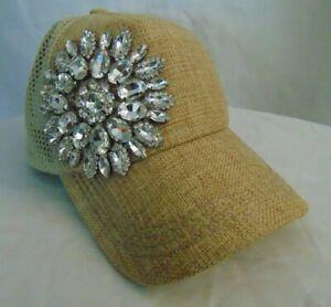 Olive & Pique women's mesh cap floral rhinestone decorated cap (beige)