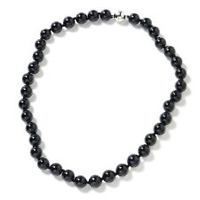 """Clasp Necklace 20""""Jewelry for Women Silvertone Enhanced Agate Beads Magnetic"""